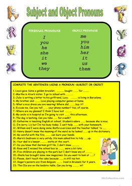 51 FREE ESL object pronouns worksheets