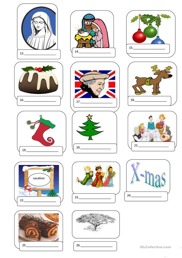 Christmas Pictionary A to Z