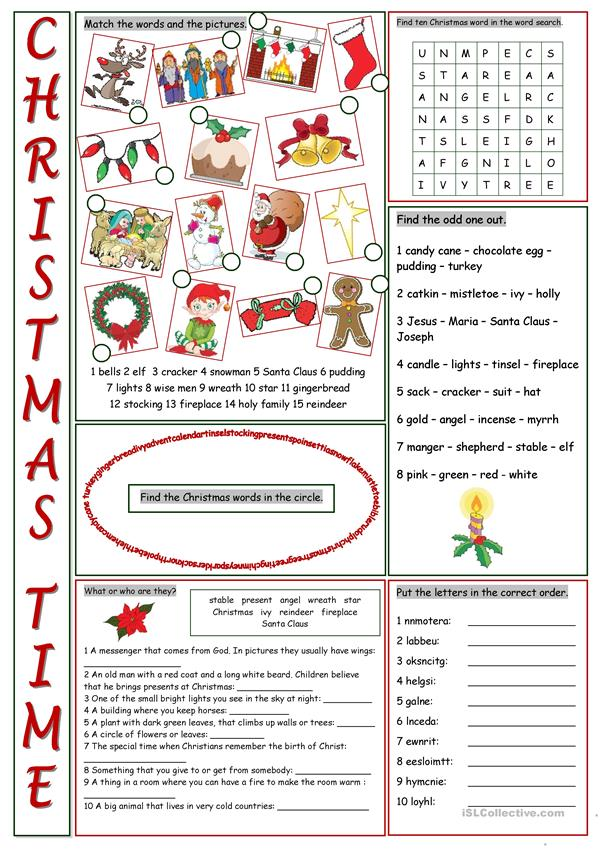 Christmas Time Vocabulary Exercises