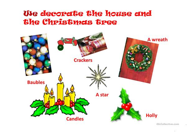 Christmas vocabulary, pronouns and prepositions