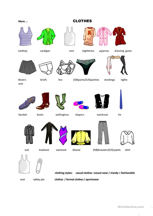CLOTHES VOCABULARY WORKSSHEET