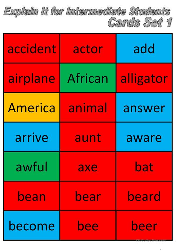 Explain It Intermediate Students Cards 1