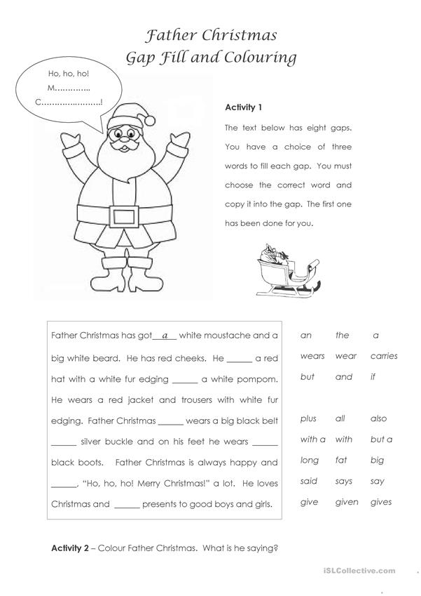 Father Christmas - Gap Fill and Colouring