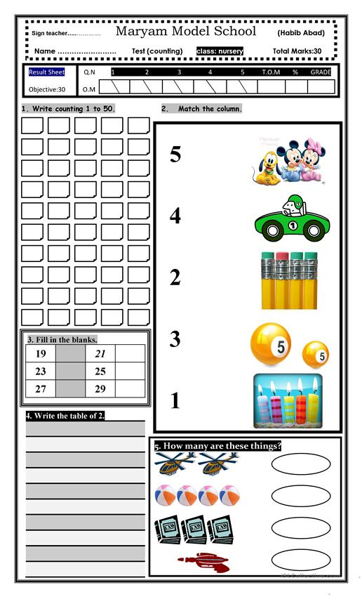 kids counting activity test