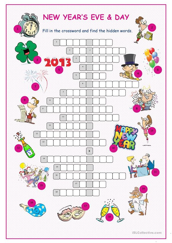 New Year's Eve &Day Crossword Puzzle