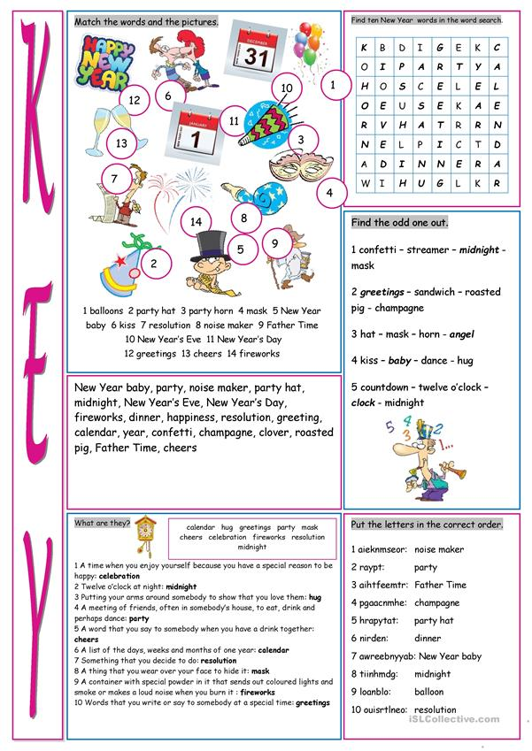 New Year's Eve &Day Vocabulary Exercises