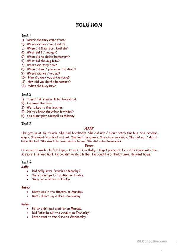 Past SimpleTense - Irregular verbs part 2 * 2 pages exercises + Answer key