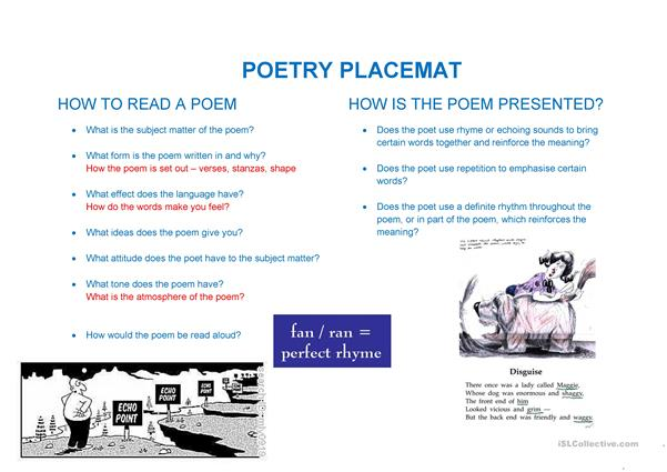 poetry placemat