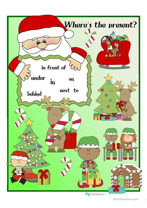 Christmas & Santa Prepositions of Place Poster