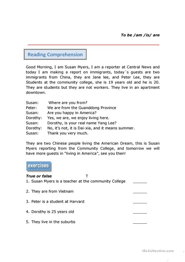 Reading Comprehension Verb To Be
