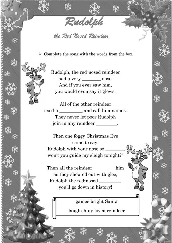 Rudolph the Red Nosed Reindeer- Song! (B&W included)