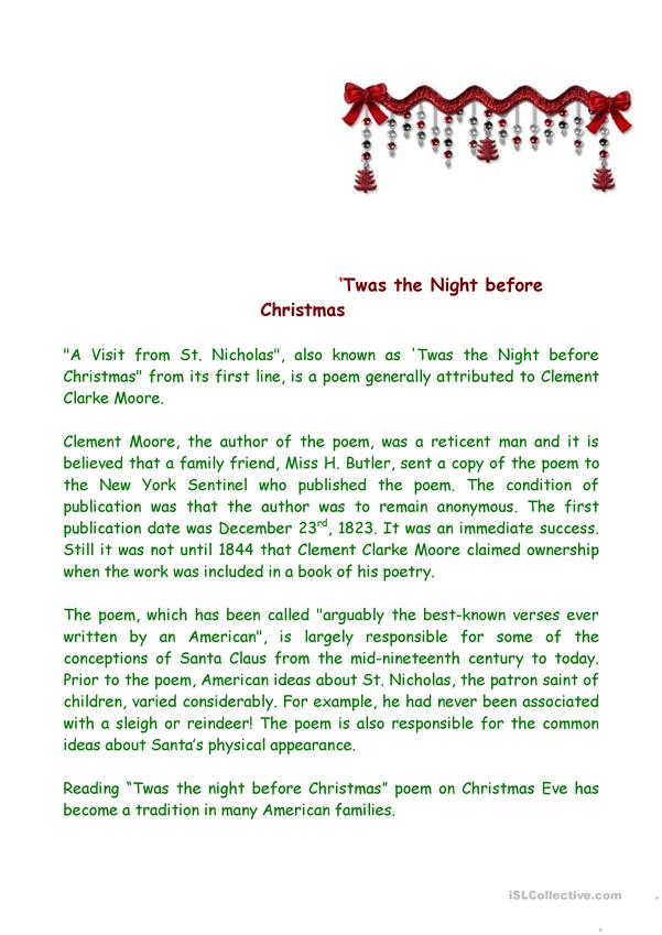 'Twas the Night before Christmas - introduction