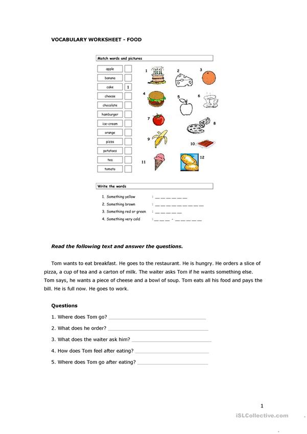 VOCABULARY WORKSHEET - FOOD