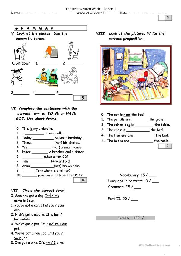 worksheet Grade VI