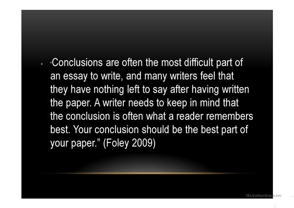 Writing a conclution