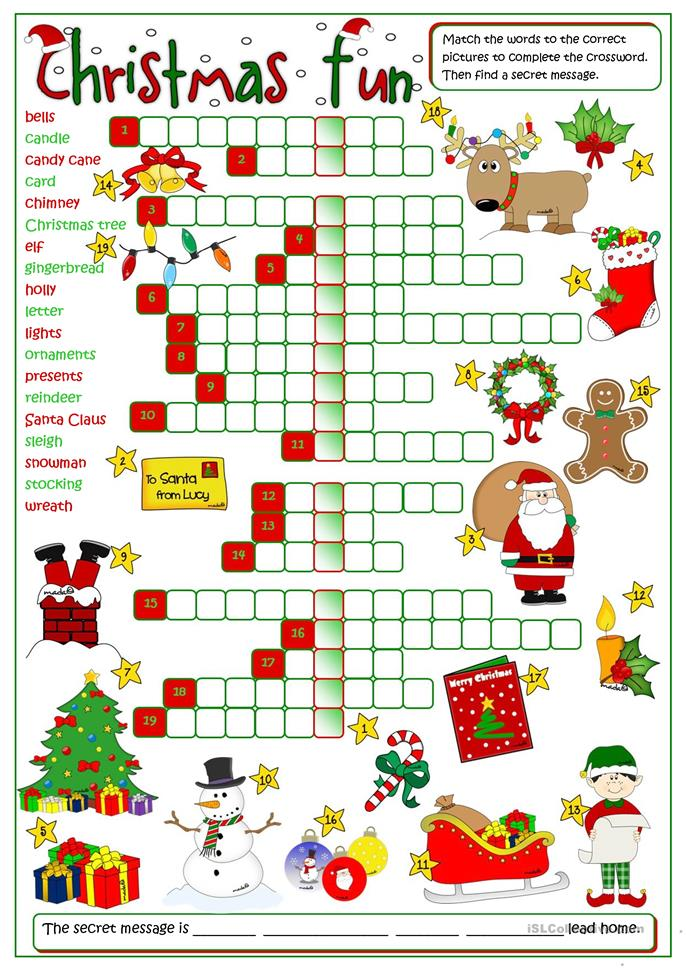 Christmas fun - crossword - ESL worksheets