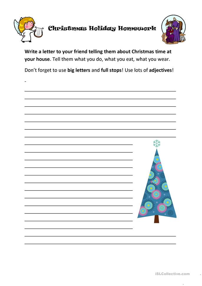 Write a letter to a friend about your christmas holiday