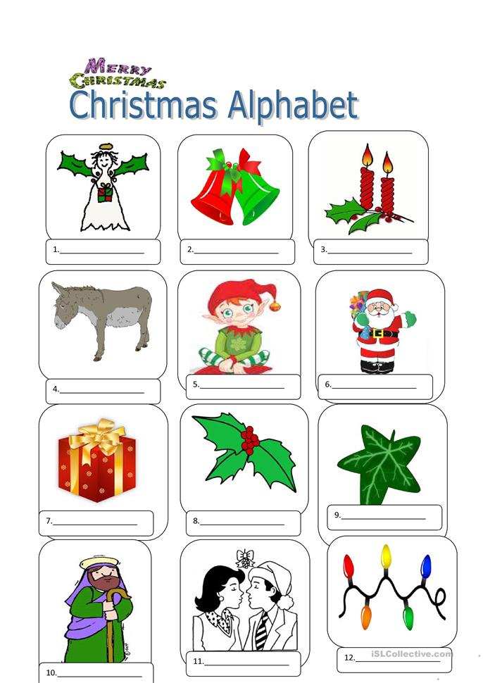 Christmas Pictionary A to Z worksheet - Free ESL printable ...