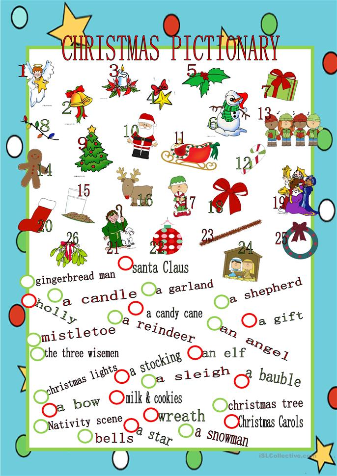 christmas pictionary worksheet free esl printable worksheets made by teachers. Black Bedroom Furniture Sets. Home Design Ideas