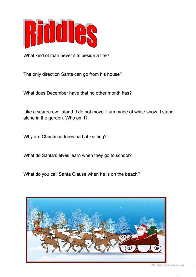 christmas riddles worksheet free esl printable. Black Bedroom Furniture Sets. Home Design Ideas