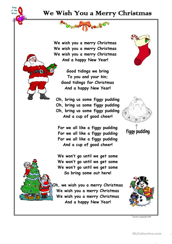 Christmas Song We Wish You a Merry Christmas - ESL worksheets