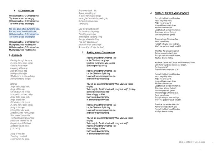 Christmas songs booklet - ESL worksheets