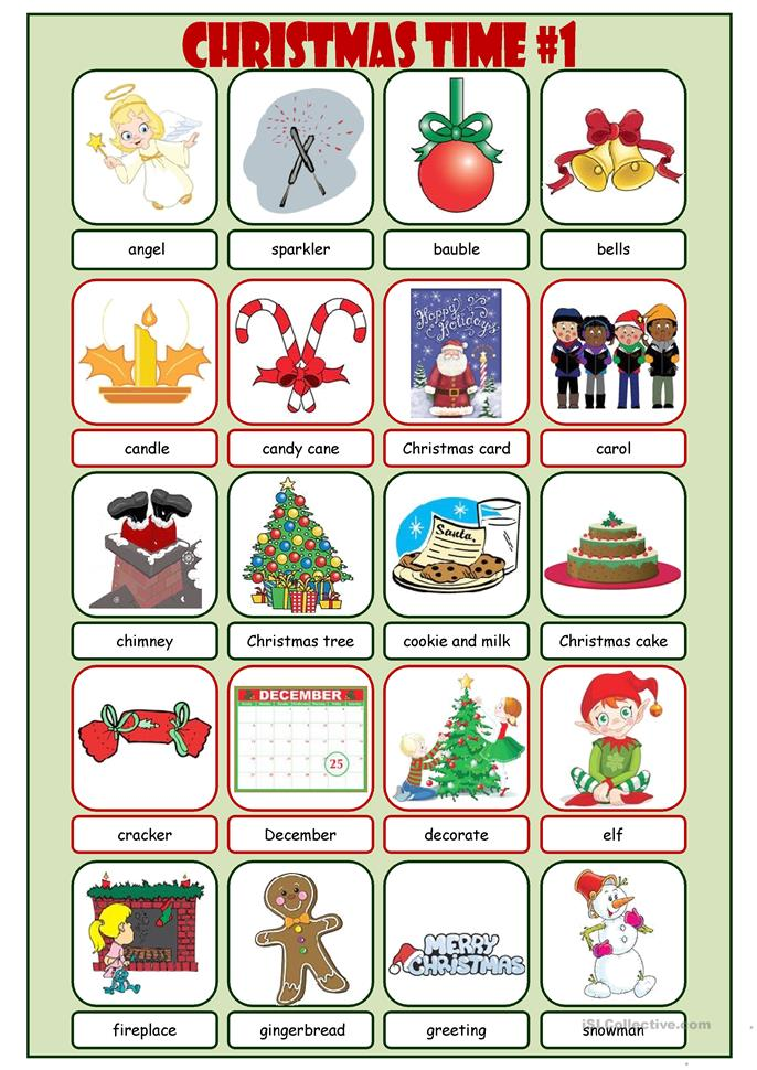 Christmas time picture dictionary 1 worksheet free esl for One dictionary
