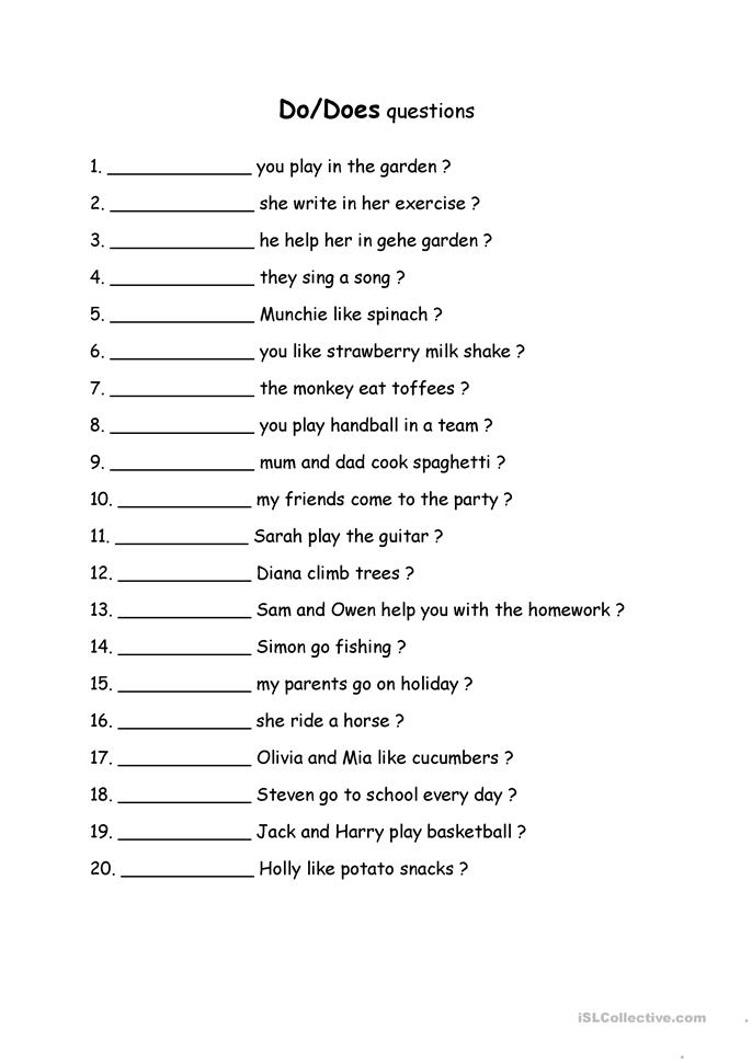 do/does questions worksheet - Free ESL printable ...