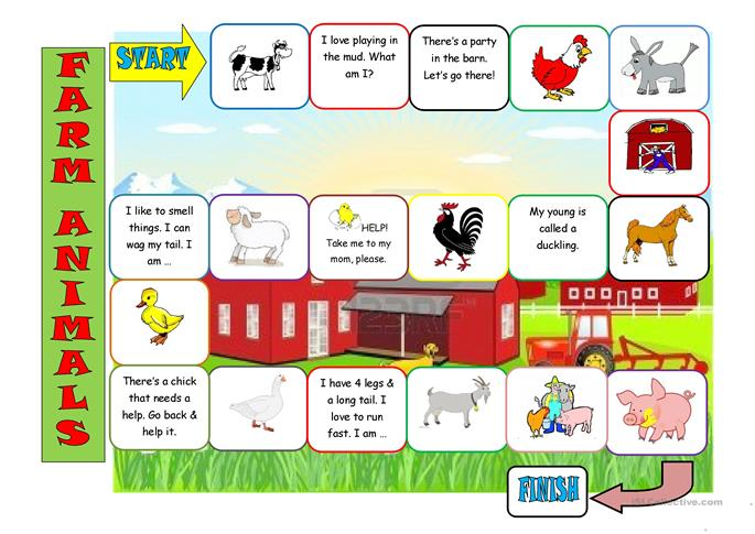 Farm Animals Board Game worksheet  Free ESL printable