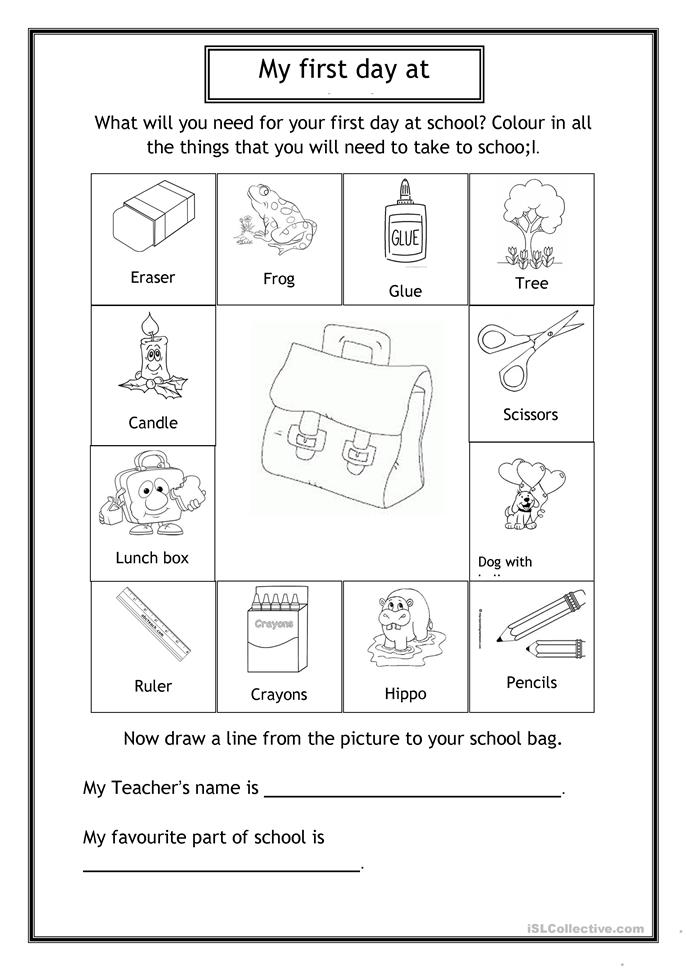 First day at school - ESL worksheets