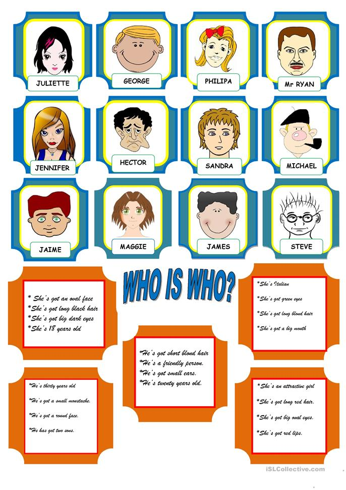 GAME: WHO IS WHO? - ESL worksheets