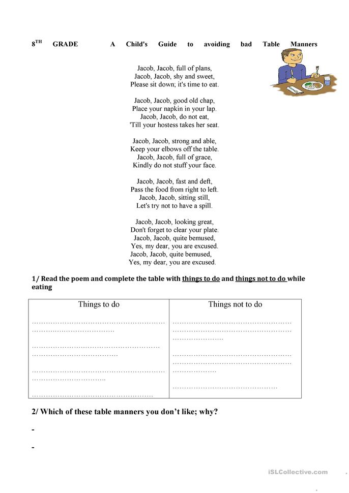 Worksheets Table Manners Worksheet good table manners worksheet free esl printable worksheets made by teachers