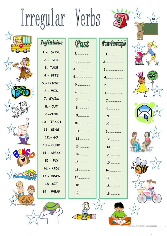 Irregular Verbs Worksheets - English for Everyone