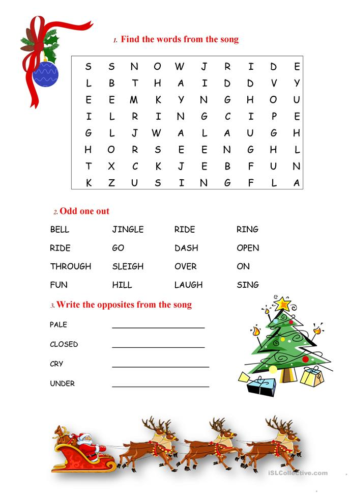 8 FREE ESL jingle bells worksheets