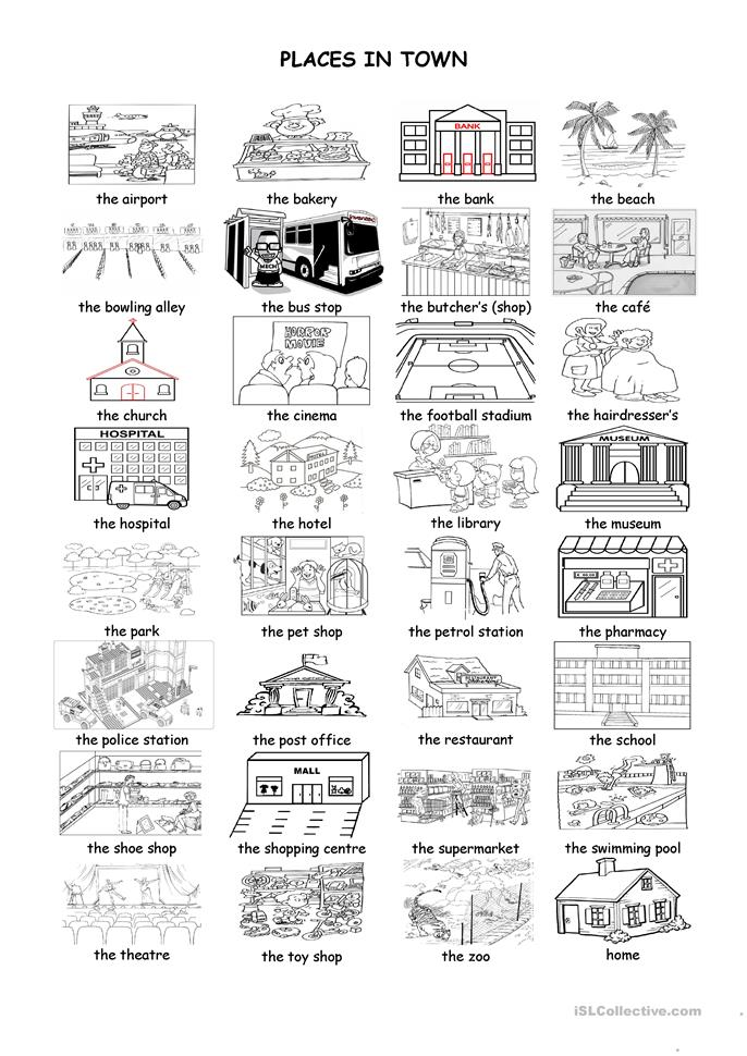 Places in town worksheet - Free ESL printable worksheets ...