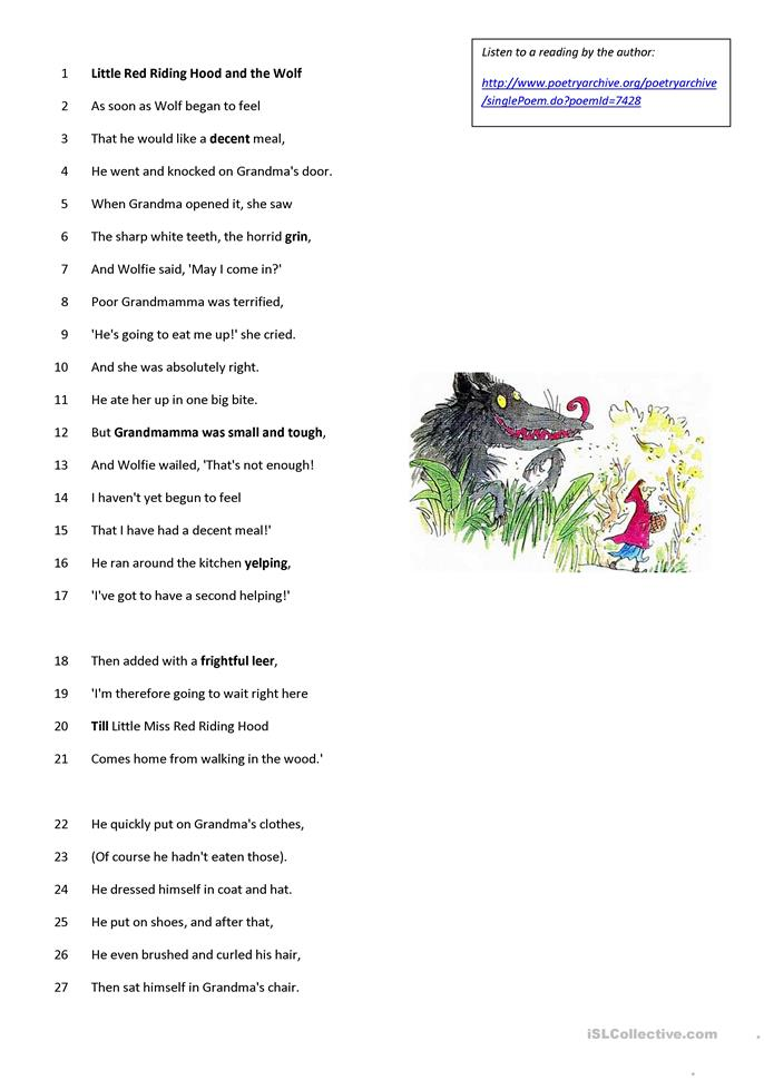 Roald Dahl - poem - Little Red Riding Hood - ESL worksheets