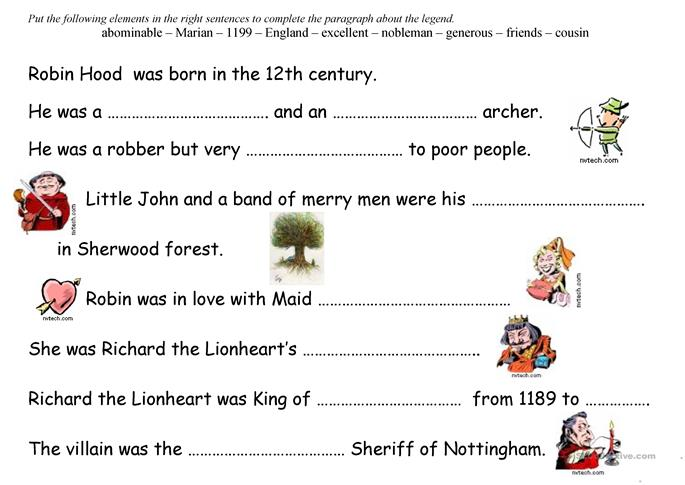 Robin Hood worksheet - Free ESL printable worksheets made by teachers