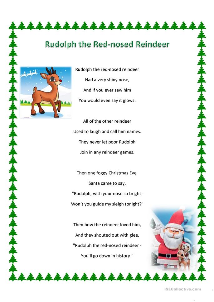 Rudolph the Red-nosed Reindeer song and WS worksheet - Free ESL ...