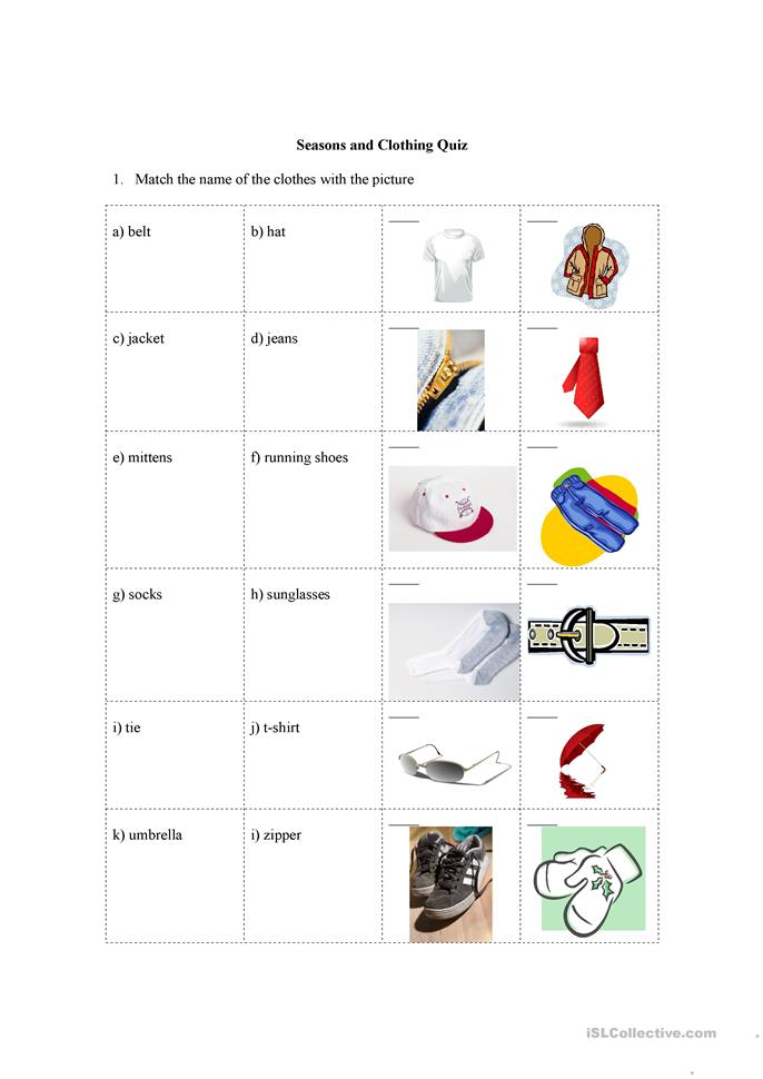 seasons and clothing quiz worksheet free esl printable worksheets made by teachers. Black Bedroom Furniture Sets. Home Design Ideas