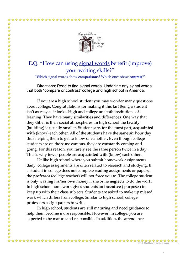 English In Italian: Compare And Contrast Worksheet
