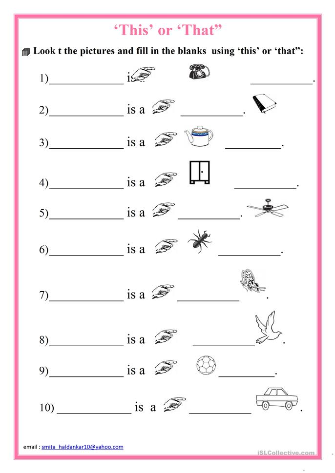 "This' or 'That"" worksheet - Free ESL printable worksheets ..."