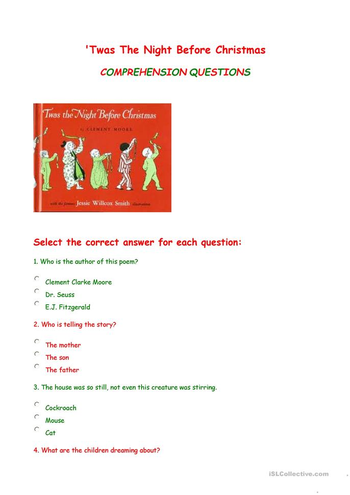 39 twas the night before christmas comprehension questions worksheet free esl printable. Black Bedroom Furniture Sets. Home Design Ideas