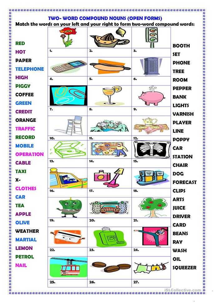Two-word compound words (open forms) worksheet - Free ESL printable ...