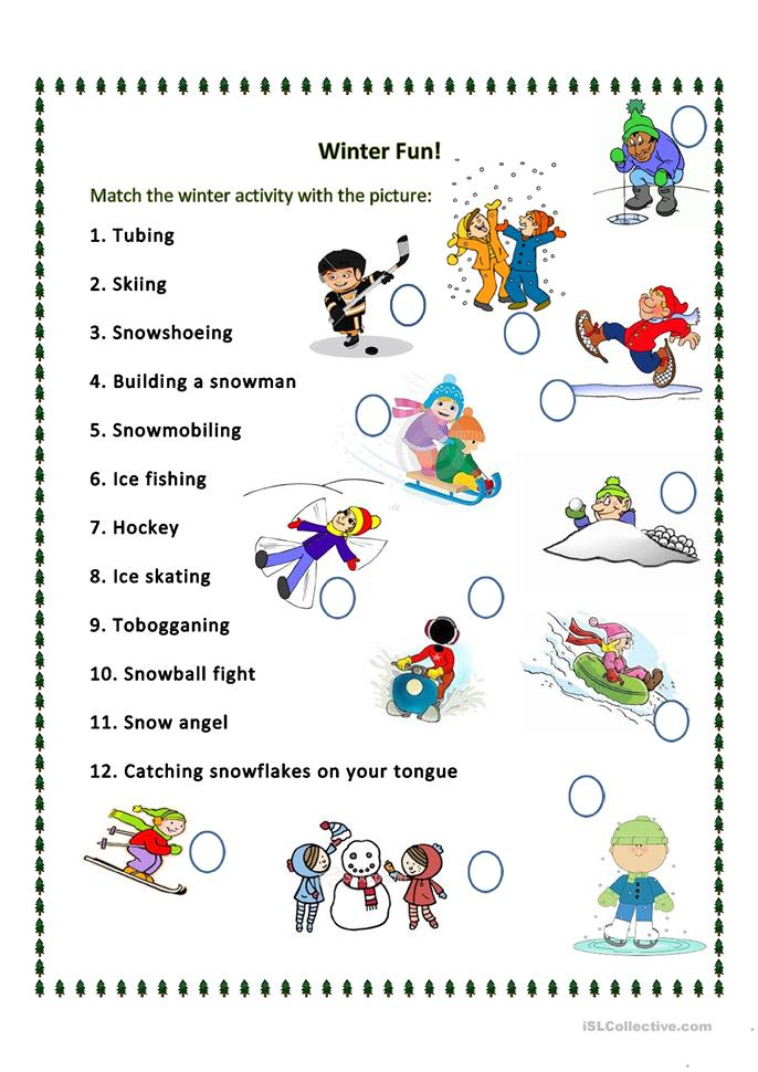 What can we do in the winter? - ESL worksheets