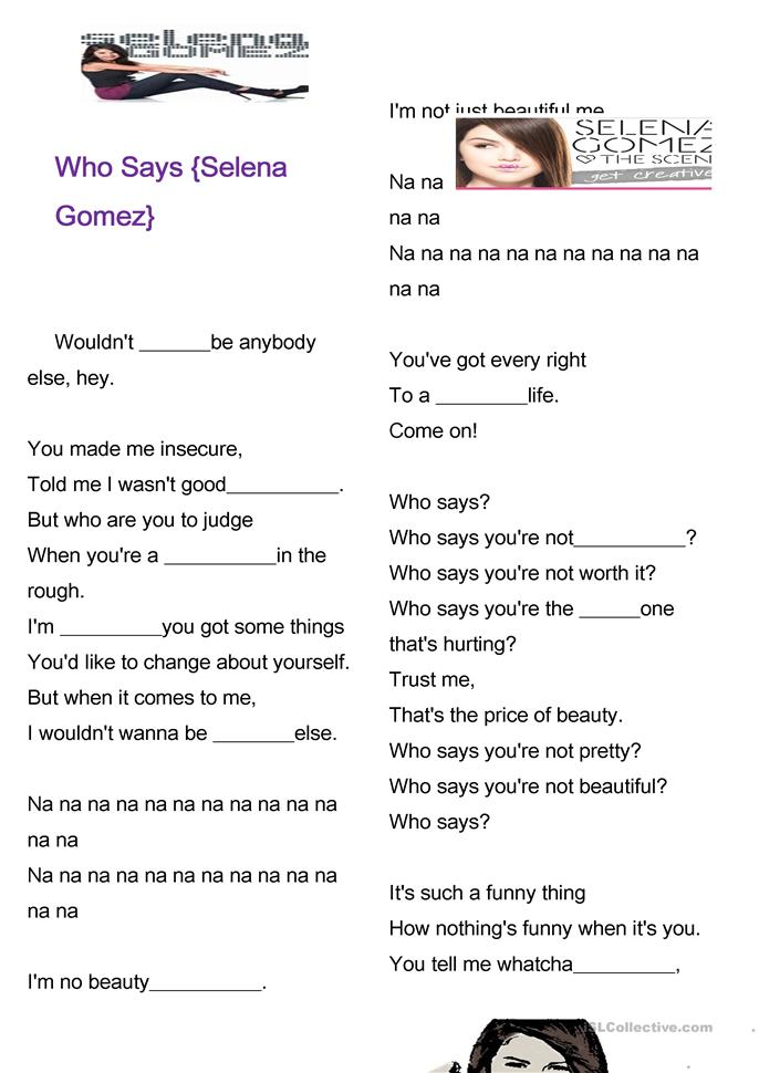 who says selena gomez worksheet free esl printable worksheets made by teachers. Black Bedroom Furniture Sets. Home Design Ideas