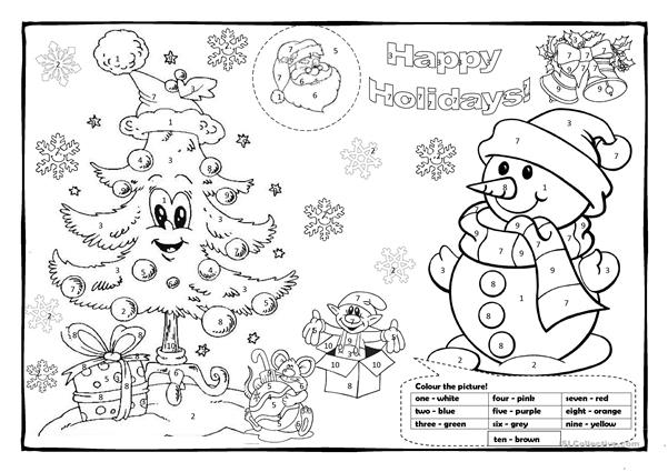 Christmas Pictures To Colour.Christmas Colouring 1 English Esl Worksheets