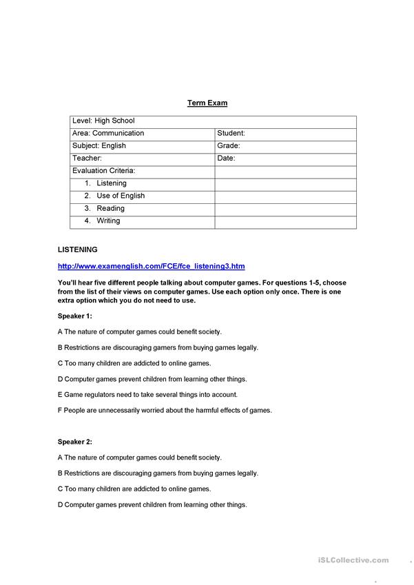 English Exam For High School Students - English ESL Worksheets For Distance  Learning And Physical Classrooms
