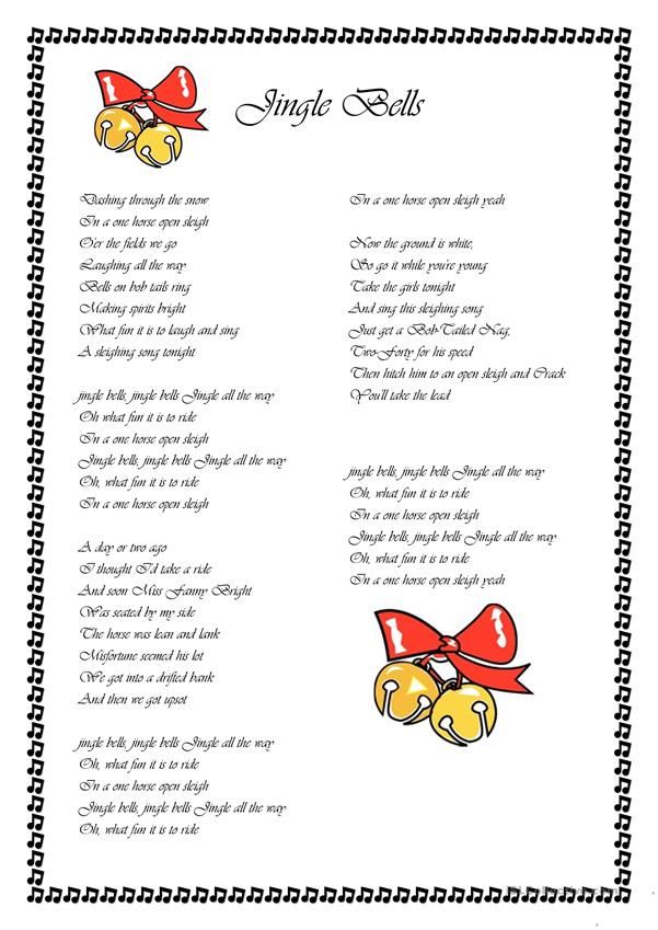 This is a graphic of Gutsy Jingle Bells Lyrics Printable
