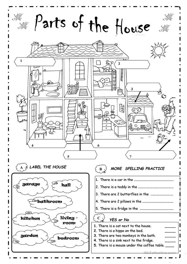 parts of the house - English ESL Worksheets