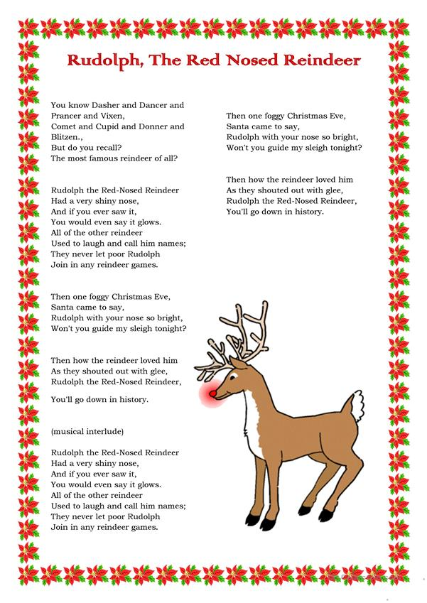 rudolph the red nosed reindeer  english esl worksheets